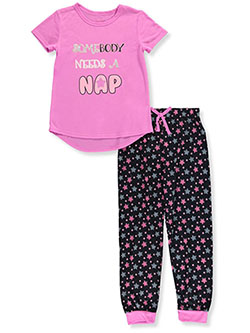 Somebody Needs a Nap 2-Piece Pajamas by Delia's in gray/pink and magenta/black