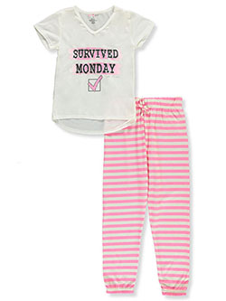 Girl Survived Monday 2-Piece Pajamas by Delia's in Pink/ivory