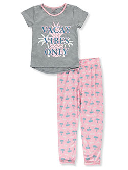Girl Vacay Vibes Only 2-Piece Pajamas by Delia's in Gray/pink