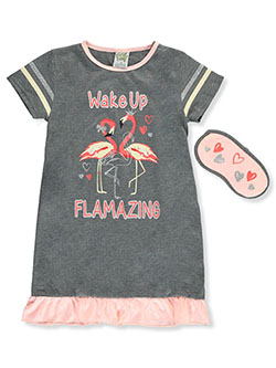 Sweet N Sassy Flamazing Nightgown with Sleep Mask by Sweet and Sassy in Heather gray/multi, Girls Fashion