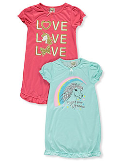 Unicorn Love 2-Pack Nightgowns by Sweet n Sassy in Mint/pink