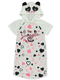Panda Snuggles Hooded Nightgowns by Sweet n Sassy in cream and ivory