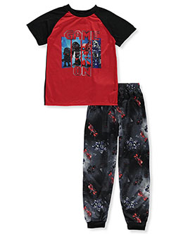Boys' 2- Piece Game On Pajamas by Quad Seven in navy/black and red/black