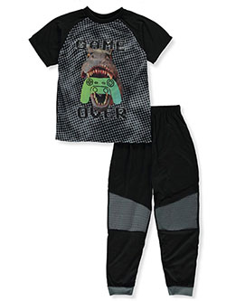 Boys' 2- Piece Game Over Pajamas by Quad Seven in Black, Sizes 8-20