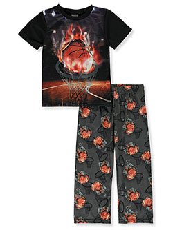 Boys' Basketball 2-Piece Pajamas by Quad Seven in black multi and navy/multi - $10.99