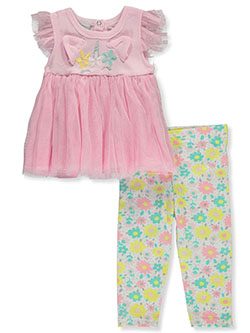 Glitter Tutu 2-Piece Leggings Set Outfit by Princess Rose in Pink multi