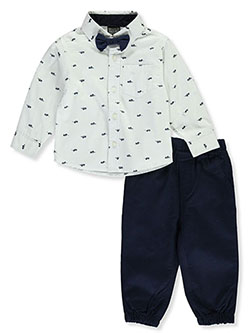 Bow-Tie 2-Piece Pants Set Outfit by Quad Seven in White/navy multi