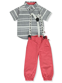 Stripe Suspenders 2-Piece Pants Set Outfit by Dapper Dude in gray/carrot and navy/khaki
