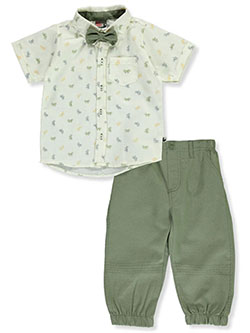 Bow-Tie 2-Piece Pants Set Outfit by DDG Sport in cream/olive and white/gray