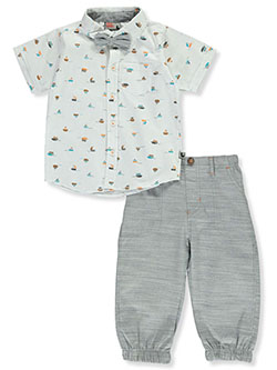 Bow-Tie 2-Piece Pants Set Outfit by DDG Sport in White/gray
