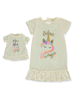 Believe in Unicorn Magic Nightgown with Doll Outfit by BFF & Me in cream and peach