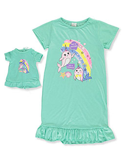 Not a Unicorn or Mermaid Nightgown with Doll Outfit by BFF & Me in mint and peach