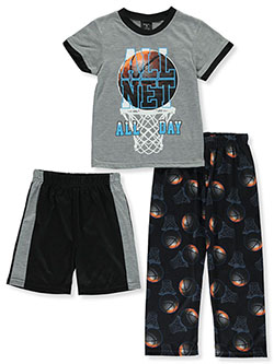 Boys' All Net All Day 3-Piece Pajamas by Quad Seven in Gray/black