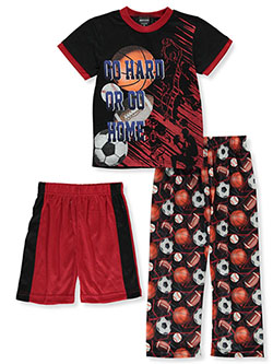 Go Hard or Go Home 3-Piece Pajamas by Quad Seven in Red/black