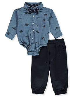 Dinosaur Bow-Tie 2-Piece Layette Set by Quad Seven in Navy blue