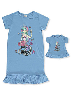 Selfie Queen Mermaid Nightgown with Doll Outfit by BFF & Me in blue and fuchsia