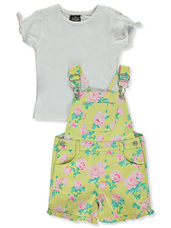 Flower 2-Piece Shortalls Set Outfit by My Destiny in Yellow multi - Overalls & Jumpers