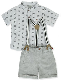 Suspenders 2-Piece Shorts Set Outfit by Dapper Dude in white/gray and white/navy