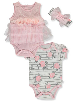 2-Pack Floral Bodysuits With Bib by Duck Duck Goose in Multi, Infants