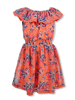 Girls' Off The Shoulder Floral Dress by Real Love in coral/multi and fuchsia/multi