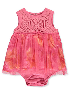 Lace and Glitter Dress/Bodysuit Combo by Duck Duck Goose in fuchsia/multi and pink/multi