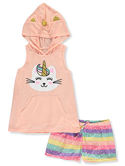 Glitter Unicorn 2-Piece Pajamas by Delia's Girl in Coral/multi