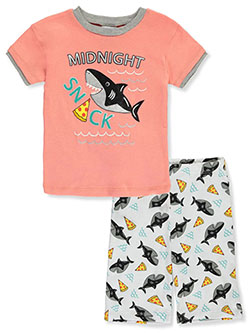 Baby Boys' Sloth Shark 2-Piece Pajamas by Mon Petit in coral/multi, navy/multi and white/multi