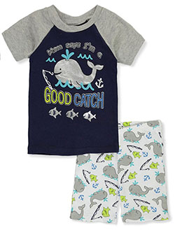 Baby Boys' Good Catch 2-Piece Pajamas by Mon Petit in navy/multi and white/multi