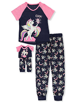 Unicorn 2-Piece Pajamas with Doll Outfit by BFF & Me in Navy/pink