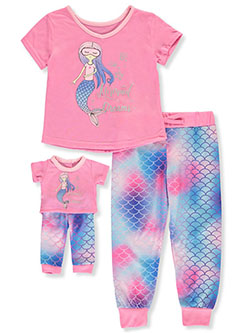 Mermaid Dreams 2-Piece Pajamas With Doll Outfit by BFF & Me in Pink/multi