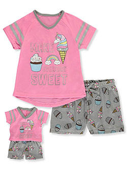 Make Everyday Sweet 2-Piece Pajamas with Doll Outfit by BFF & Me in Pink/gray
