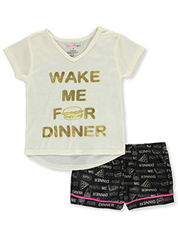 Wake Me For Dinner 2-Piece Pajamas by Delia's Girl in Ivory/black