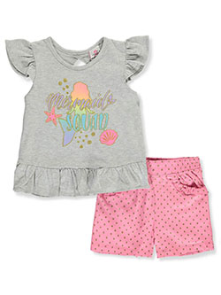 Mermaid Squad 2-Piece Shorts Set Outfit by Real Love in gray multi and white/multi