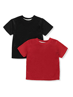Boys' 2-Pack Performance Tops by Quad Seven in black/red and heather gray/white