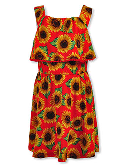 Girls' Sunflower Sundress by Real Love in black multi and red/multi