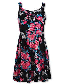 Girls' Floral Bow A-Line Sundress by Real Love in black multi and fuchsia/multi