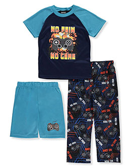 Boys' No Pain No Game 3-Piece Pajamas by Quad Seven in Multi