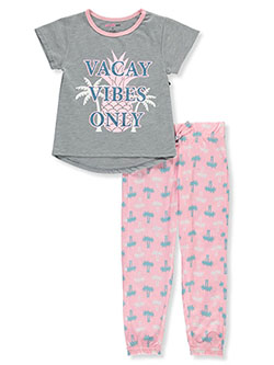 Vacay Vibes Only 2-Piece Pajamas by Delia's Girl in gray and hot pink