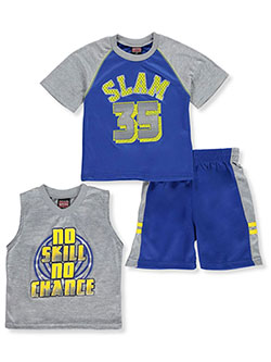 Boys' Slam Dunk 3-Piece Shorts Set Outfit by Mad Game in Gray multi
