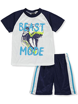 Boys' Beast Mode 2-Piece Pajamas by Quad Seven in navy/multi and olive multi