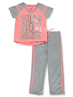 Sorry Not Sorry 2-Piece Pajamas by Delia's Girl in coral and navy