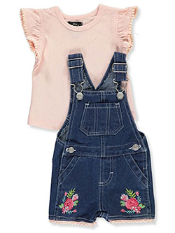 2-Piece Denim Shortalls Set Outfit by My Destiny in Pink/multi - Overalls & Shortalls