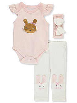 Glitter Bunny 3-Piece Layette Set by Little Joy in Multi