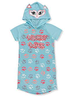 Girls' Mischief Hooded Nightgown by Sweet N Sassy in aqua/multi and fuchsia/multi
