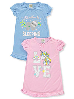 Rather Be Sleeping 2-Pack Nightgowns by Sweet N Sassy in Multi, Girls Fashion