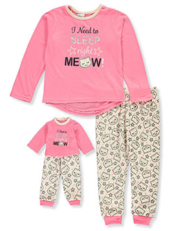 Right Meow 2-Piece Pajamas with Doll Pajamas by BFF & Me in fuchsia and pink