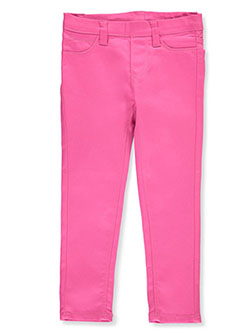 Girls' Twill Super Stretch Jeggings by Real Love in hot pink and khaki
