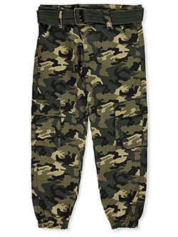 Boys' Belted Cargo Joggers by Quad Seven in camouflage and olive camo