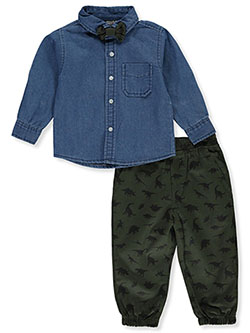 Dinosaur Bowtie 2-Piece Joggers Set Outfit by Quad Seven in Multi, Infants