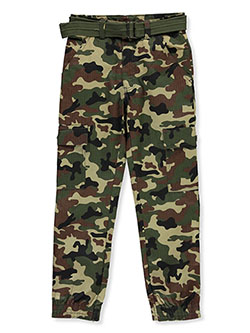 Boys' Belted Camo Joggers by Quad Seven in Black camo